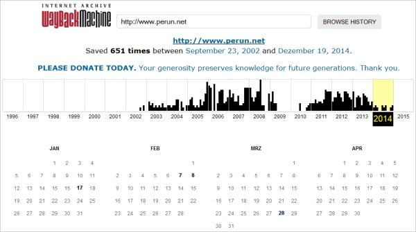 Internet-Archiv einer Website