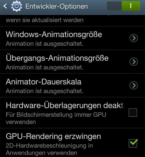 Die Entwickler-Optionen von Samsung Galaxy N7000