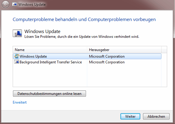 WindowsUpdateDiagnostic.diagcab im Einsatz