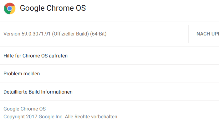 Google Chrome OS Version 59