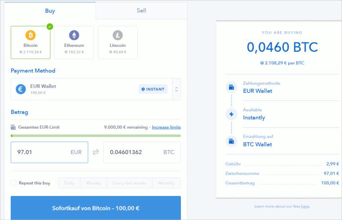 Kauf von Kryptogeld auf Coinbase mit dem Euro-Guthaben