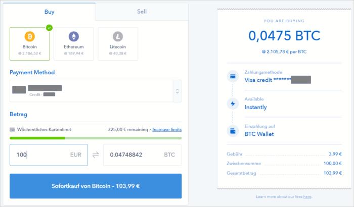 Kauf von Bitcoin, Litecoin oder Ethereum mit Kreditkarte auf Coinbase.com