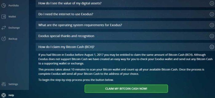 Erster Schritt: Bitcoin Cash in Exodus beanspruchen