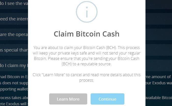 Zweiter Schritt: Bitcoin Cash via Exodus beanspruchen