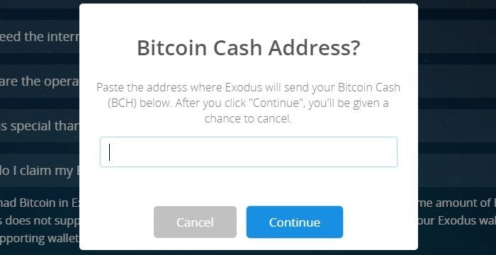 Dritter Schritt: Bitcoin Cash via Exodus beanspruchen