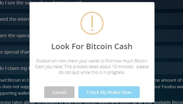 Vierter Schritt: via Exodus Bitcoin Cash beanspruchen