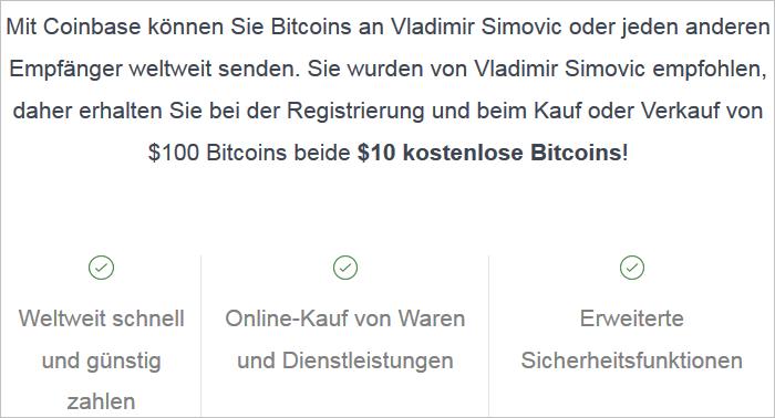 Kostenlose Bitcoin von Coinbase