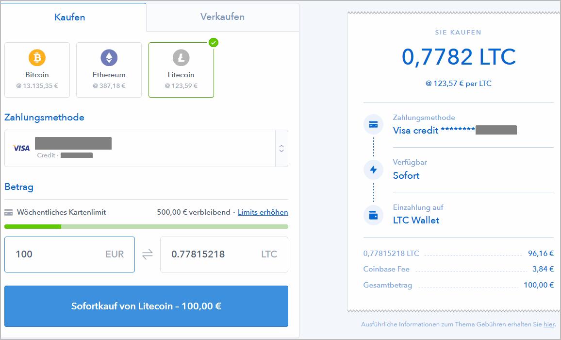 Coinbase: Litecoin mit Kreditkarte kaufen