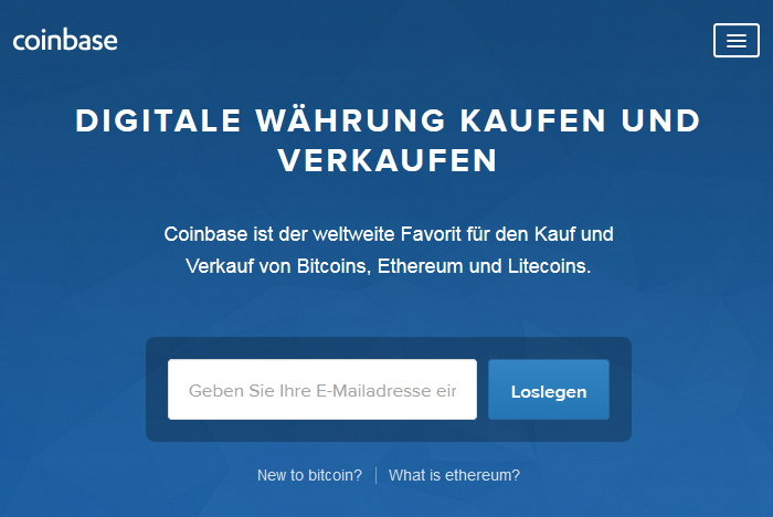 Coinbase: die Startseite