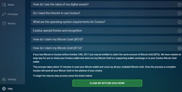 Exodus: Bitcoin Gold claimen 1