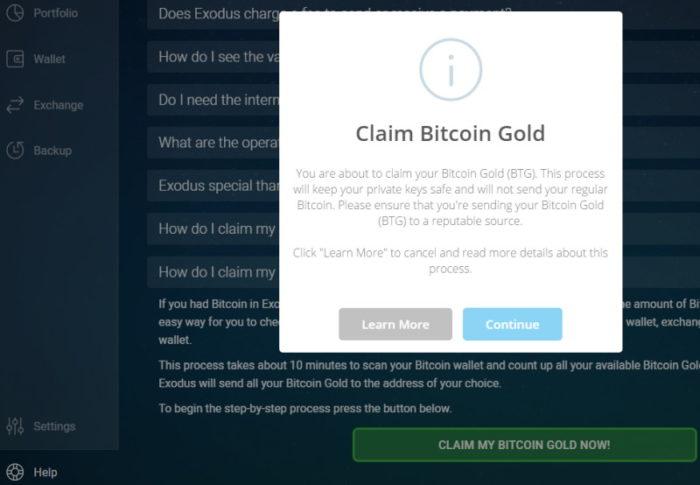 Exodus: Bitcoin Gold claimen 2