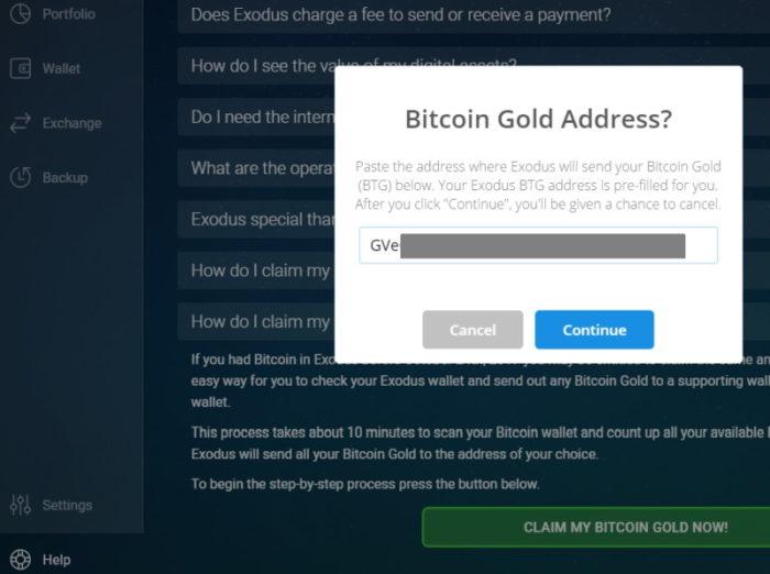 Exodus: Bitcoin Gold claimen 3