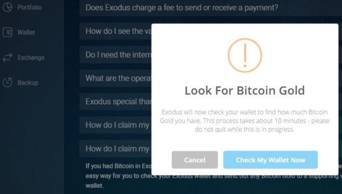 Exodus: Bitcoin Gold claimen 4