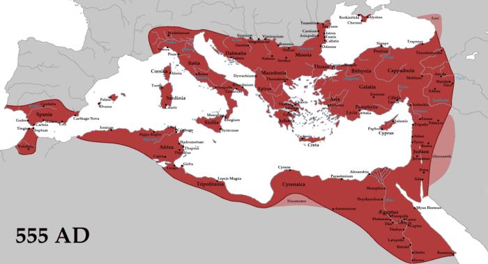 Byzantinisches Reich um 555 n. Chr, während der Regierungszeit von Justinian dem I