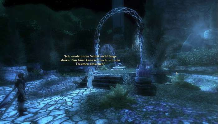 Screenshot aus Herr der Ringe Online: Galadriel erscheint uns im Traum