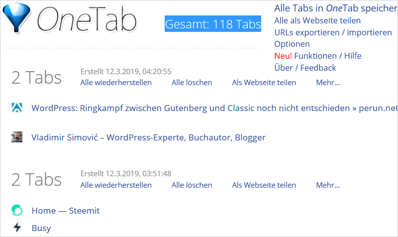 OneTab: pffiges Browser-Addon um Übersicht zu behalten