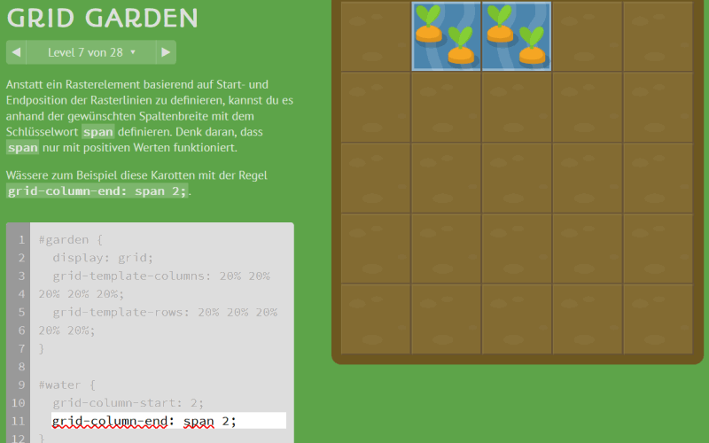Screenshot von CSS Grid Garden