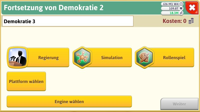 Screenshot: Game Dev Tycoon, richtiges Genre finden