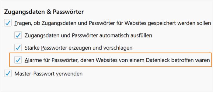 Firefox: Warnungen bei Datenlecks aktivieren