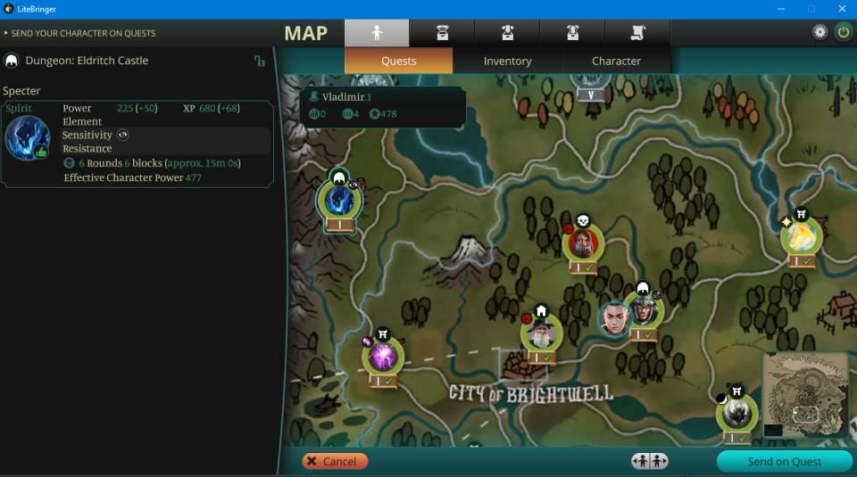 LiteBringer: Charakter auf die Quest schicken